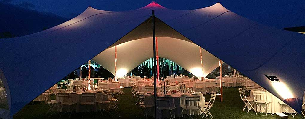stretch tent at night